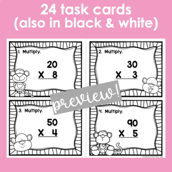 Multiplication Scoot and Printables- Monkey Themed