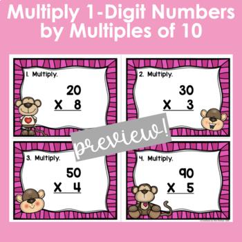 Multiplying One Digit Numbers by Multiples of Ten Task Cards