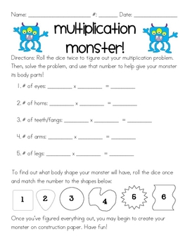 Multiplication Monster by Yay Third Grade | Teachers Pay Teachers