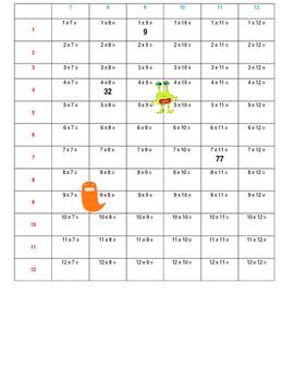 Multiplication Monster Math Drill 1 - 12