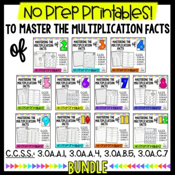 Multiplication Monsters- Practice For Facts 2-10 bundle