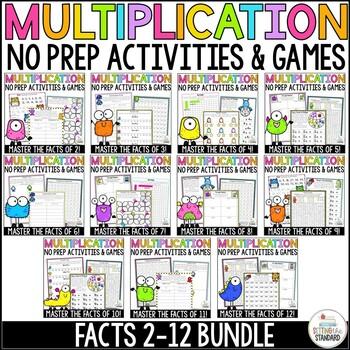 Multiplication Practice For Facts 2-12 worksheets bundle