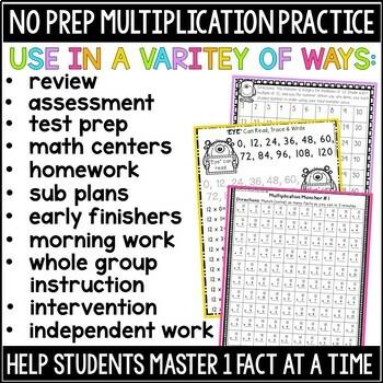 Multiplication Worksheet & Game Practice For Facts 2-12 bundle