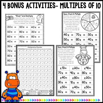 Multiplication Monsters- Practice For Facts of 10 Worksheets