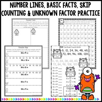 Multiplication Monsters- Practice For Facts of 12 Worksheets