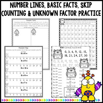 Multiplication Monsters- Practice For Facts of 3 Worksheets