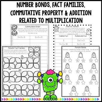 Multiplication Monsters- Practice For Facts of 5 Worksheets