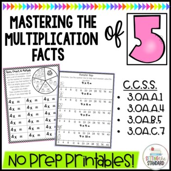 Multiplication Monsters- Practice For Facts of 5 Printables