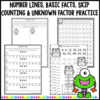 Multiplication Monsters- Practice For Facts of 6 Worksheets