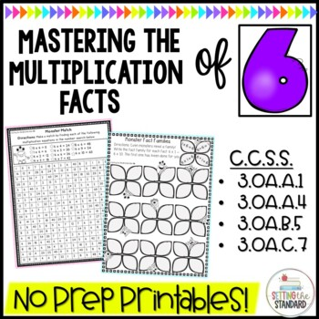 Multiplication Monsters- Practice For Facts of 6 Printables