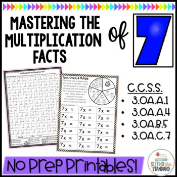 Multiplication Monsters- Practice For Facts of 7 Printables