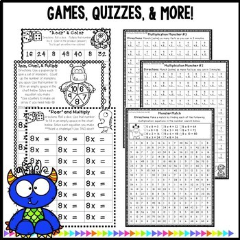 Multiplication Monsters- Practice For Facts of 8 Printables