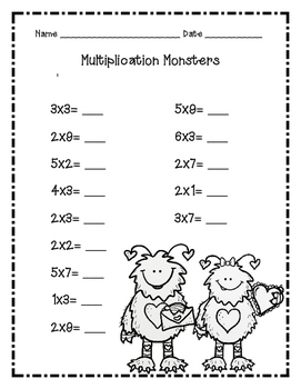 Multiplication Monsters (Valentine's Day)