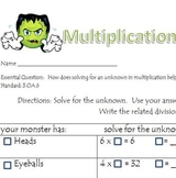 Multiplication Monsters (solving for unknowns)