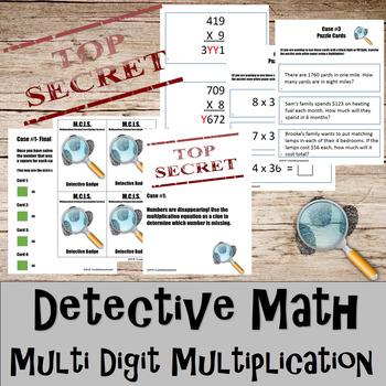Multiplication- Multi digit- Detective Math Bundle