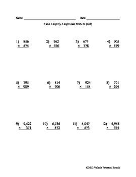 Multiplication: Multi-digit by 3-digit Class Work