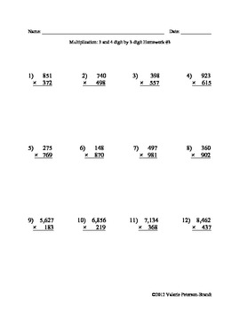 Multiplication: Multi-digit by 3-digit Homework (5 assignments)