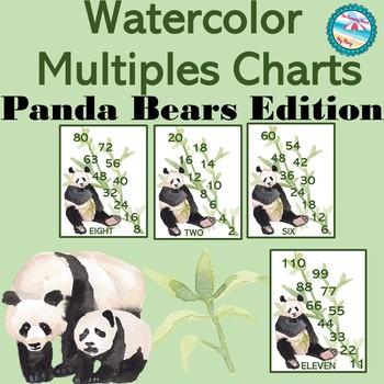 Multiplication Multiples 2-12 Charts/Posters w/ Watercolor Panda Bears