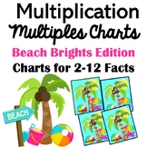 Multiplication Multiples Charts 2-12 Beach Brights w/ Palm Trees