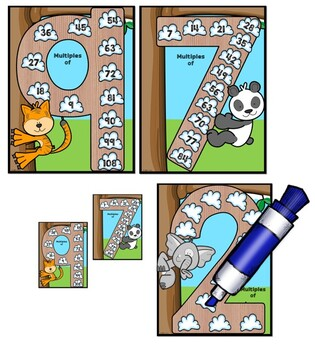 Multiplication Multiples Animal  Charts