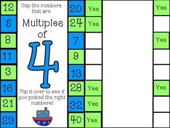 Multiplication Multiples Clip Cards: Independent practice
