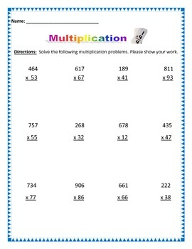 Multiplication - Multiplying 3 digit to 2 digit. Common Core
