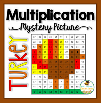 Multiplication Mystery Picture Turkey Thanksgiving Math