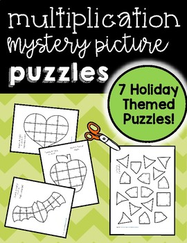 Multiplication Mystery Puzzles with 7 Holiday Themed Puzzles!