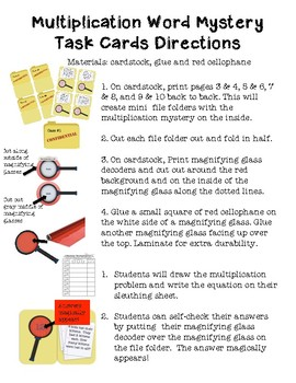 Multiplication Mystery Task Cards-with Magnifying Glass Decoder