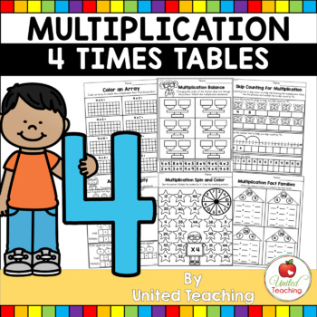 Multiplication No Prep 4 Times Tables