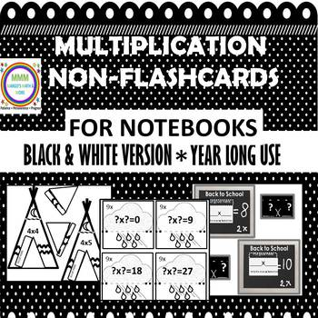Multiplication Flappy Flashcards for Interactive Notebooks B&W Version