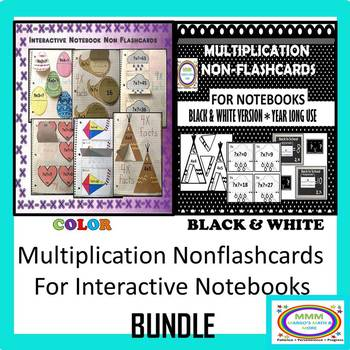 #backtoschool Multiplication Non Flashcards for Notebooks Both Color/B&W
