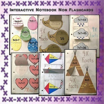 Multiplication Non-flashcards for Notebooks Year Long (Color Version)