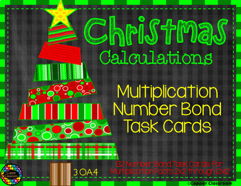 Multiplication Number Bond Task Cards-Christmas Themed