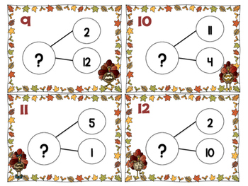 Multiplication Number Bond Cards- Turkey Edition (Facts 0, 1, 2, 4, 5, 10)
