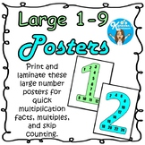 Multiplication Number Posters - Blue and Green Class Color Scheme