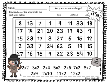Multiplication Number Searches (Numbers 2-12)