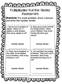 Multiplication: Number Stories Write the Room