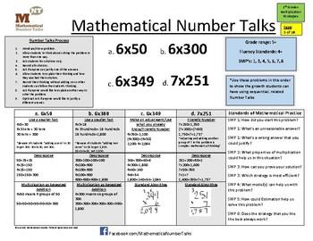 Multiplication Number Talks Progression for Grades 5-9+