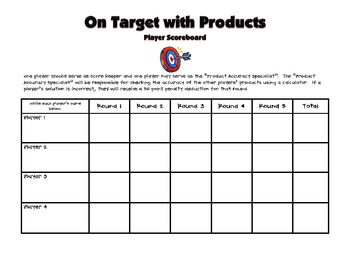 Multiplication: On Target with Products