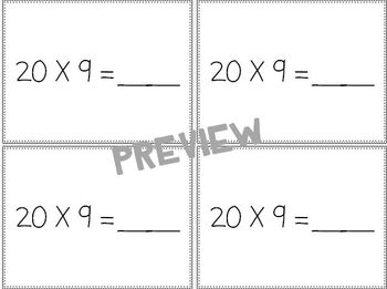 Multiplication: One Digit Number by Multiples of Ten Review Cards