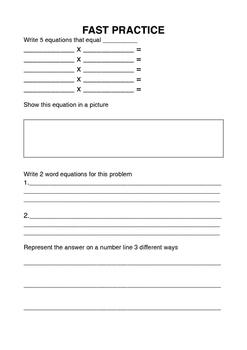 Multiplication Open Ended Question Task Sheet