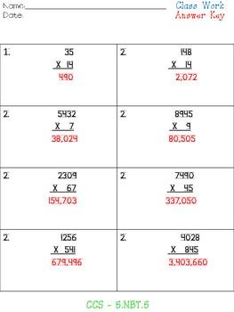 Multiplication Packet - 5.NBT.5