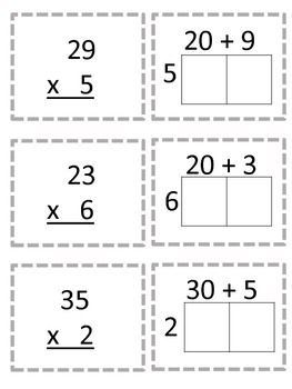 Multiplication Partial Products Card Game and Record Sheet