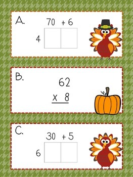 Multiplication Partial Products Thanksgiving  Scavenger Hunt
