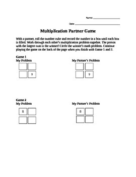 Multiplication Partner Game