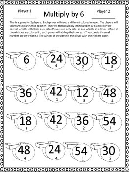 Multiplication Partner Games--Spin and Multiply--10 Seasonal Sets