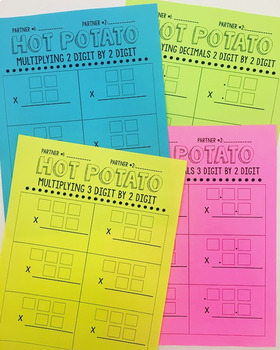 Multiplication Partner Work {Hot Potato Template} (4 versions)