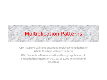 Multiplication Patterns with 10, 100, & 1000