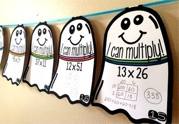 Halloween Multiplication Math Pennant Activity 2 x 2 digit